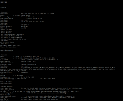 How to display hardware system information on Linux - hardinfo on Ubuntu 18.04.4 LTS