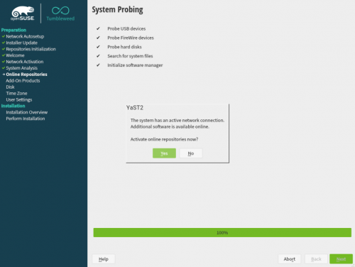 How to install openSUSE Tumbleweed - activate online repositories