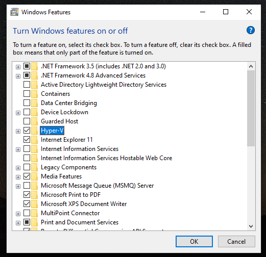 How to enable/disable Hyper-V in Windows