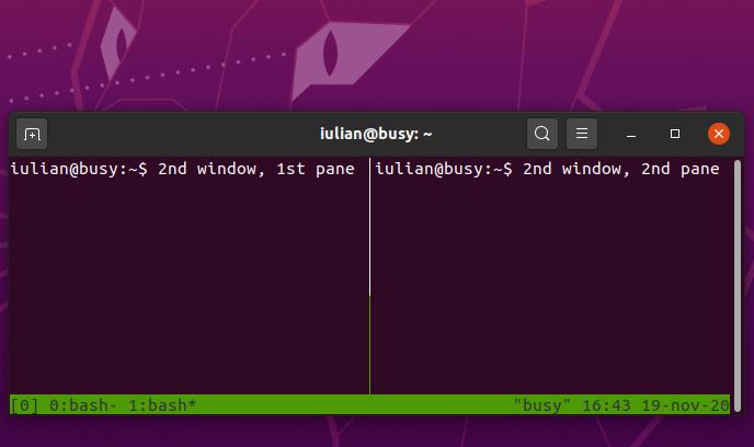 Creating and managing windows in tmux - Ubuntu 20.04.1 desktop