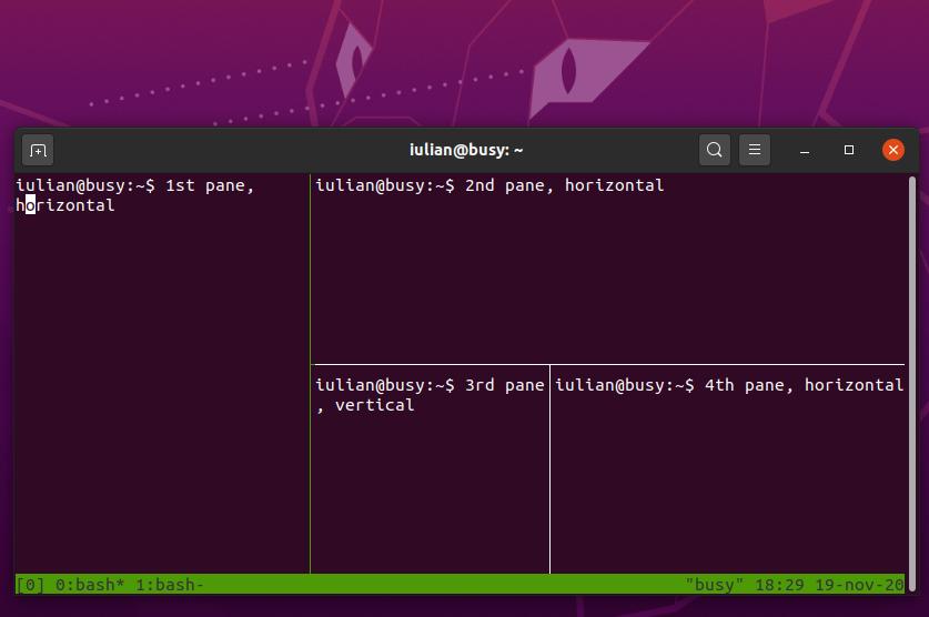 Creating and manging panes in tmux - Ubuntu 20.04.1 desktop