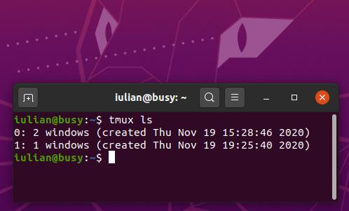 Creating and managing sessions in tmux - Ubuntu 20.04.1 desktop
